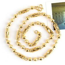"""18K Yellow Gold Filled Carved Men's Necklace Beads Link 24""""Chain Fashion Gift"""