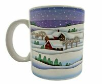Vintage Otagiri Mug Winter Christmas Scene Cabins in the Snow Trees 3D  Japan