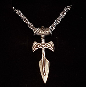 Viking Dagger Pendant Necklace Nordic 60cm Metal Rope Chain Silver Gift Idea