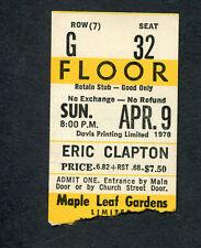 1978 Eric Clapton John Martyn concert ticket stub Toronto Canada Slow Hand Tour