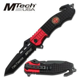 MTech Rescue Folding Folder Tactical Knife Glass Breaker Seat Belt Cutter MT-740