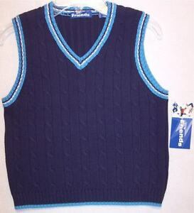 NWT Just Friends Boy's 100% Cotton Navy Cable Sweater Vest, S (4)