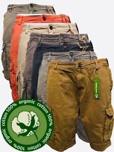 Mens Cargo Shorts 100% Organic Cotton Summer Combat Pants 6 Pockets Debenhams