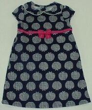 Gymboree Charm Class Girls Navy Apple Print Cap Sleeve Unlined Corduroy Dress 2T