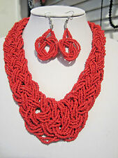 Multi Strand Red Glass Seed Bead Braided Necklace Erring Set