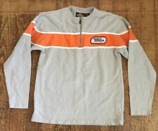Harley Davidson Racing Grey Orange Embroidered Patch Long Sleeve Shirt Small