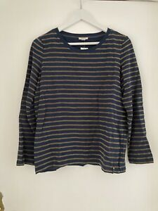 Damenshirt/Longsleeve - ESPRIT - Gr. L - Blau/Braun(wildlederlook) gestreift