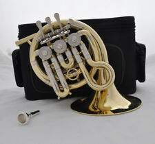 Top new Gold lacquer Bb mini french horn piccolo french with mouthpiece case
