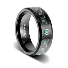 8mm Black Wedding Band Carbon Fibre with Beveled Edges and Emerald Green New*