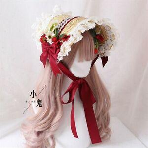 Mori Girl Retro Lolita Handmade Straw Hat Tea Party Cap Lace Bonnet  Hat