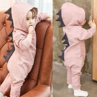 Cute Newborn Infant Baby Boy Girl Dinosaur Hooded Romper Jumpsuit Clothes Outfit