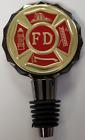 "FD FIRE DEPARTMENT MALTESE CROSS 2 Sided Black Nickel Wine Stopper 2 2"" Emblem"
