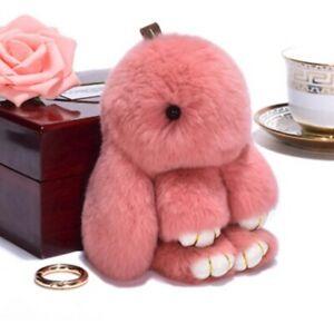 1*Fashion Fur Bunny Fluffy Rabbit Plush Toy Keyring Bag Charm Pendant Keychain