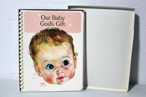 UNUSED VINTAGE BABY RECORD BOOK 1960's- FRAN HOOK - OUR BABY GOD'S GIFT -  BOXED