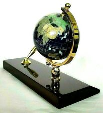 Gemstone Rotating Polished Globe Executive Desk Set Cherry Wood Base