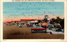 1930s California Postcard San Diego CA Lindbergh Field Airport Old Cars Planes