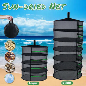 4-6 TIER DRYING NET LARGE SHELF HYDROPONIC HANGING GROW HERB PLANT DRY RACK A