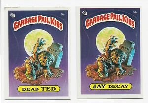 Garbage Pail Kids 1985 Series 1 Dead Ted 5a & Jay Decay 5b Stupid Student Award