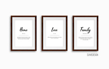 Home, Family, Love Set of 3x Definitions Quote Prints Wall Arts Minimalist Print