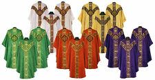 Trad Chasuble Vestment 5 Set Lot Choose White,Gold,Green,Red,Purple,Black,Rose