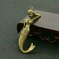 Antique Brass Mermaid Pendant Small Statue Pocket Gift Good Luck Collectible