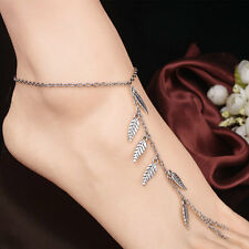 Sexy Foot Jewelry Silver leaf Chain Ankle Bracelet Barefoot Sandal Beach Anklet