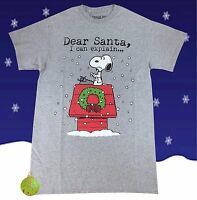 New Peanuts Charlie Brown Snoopy Dear Santa I Can Explain Christmas Mens T-Shirt