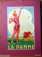 Nachlass Reklame Druck hinter Passepartouts 80er La Panne 36x26cm 806