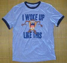 Looney Tunes I Woke Up Like This Blue T-Shirt Navy Ringer neck Men's size LARGE