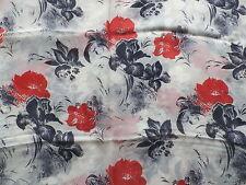 Retro Semi-Sheer Silk Chiffon Dress Making Fabric Red Blue Abstract Floral
