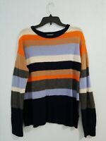 A loves A Women's Sweater Long Sleeve Scoop Neck Striped Wool Cashmere. Size L