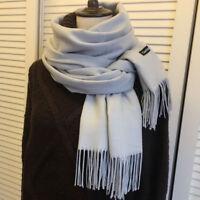 Fashion Men's Winter Warm Solid Gray 100% Cashmere Pashmina Long Soft Neck Scarf