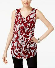 Alfani(MY8037-46) Printed Draped Top Wine Text Scroll S $69.50