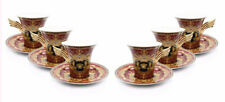 Royalty Porcelain 12-pc Red Tea Set, Service for 6, Medusa Greek Key, 24K Gold