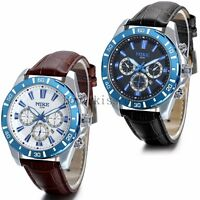 Men's Watch Date Calendar Leather Strap Military Army Sport Quartz Wrist Watch