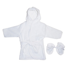 Bambini Infant White Terry Hooded Bath Robe White Trim  White Booties One Size