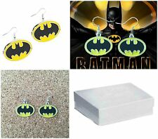 Silvertone DC Comics Batman Logo Charm Dangle Earrings W/Gift Box USA Seller