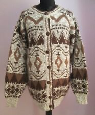 VTG Ladies Unbranded Cream/Brown Patterned Acrylic Mix Cardigan Size 14/16(F10)