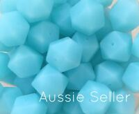 10 silicone beads ICE BLUE 17mm hexagon DIY bead necklace sensory was teething