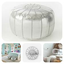 SILVER MOROCCAN POUF FAUX LEATHER POUFFE HANDMADE OTTOMAN HOME DECOR FOOTSTOOL