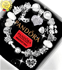 Authentic PANDORA Bracelet Silver with I LOVE YOU AB Heart European Charms New