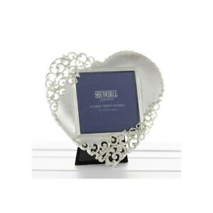 """Satin Silver Lace Edge Heart Shaped Photo Picture Frame – Gift – 3x3"""" photo"""