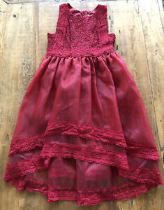 Trish Scully Child Dress Red Delphine Holiday Lace Girls Size 7 PRETTY