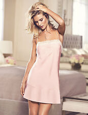 NEW M&S Rosie for Autograph Pink Soft Satin Lace Trim Chemise UK 12 EUR 40