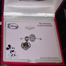 DISNEY MINNIE MOUSE HEART/CRYSTAL BEAD STERLING SILVER BRACELET CHARMS**1 LEFT!!