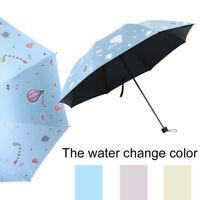 Fj- LN _ Mini Anti UV Sole Parasole 3 Pieghevole Gocciolina Pioggia Colore