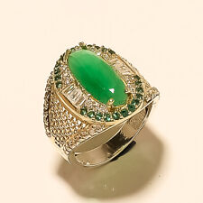 Silver Two Tone Wedding Retro Jewelry Natural Zambian Emerald Ring 925 Sterling