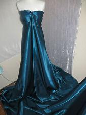 "1M BRIDAL DRESS SATIN  TEAL BLUE  COLOURED FABRIC  58"" WIDE"