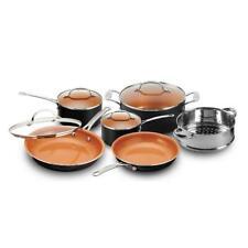10-Piece Graphite Cookware Set Lids Round Ti-Cerama Coating Fry Pans Skillet