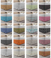 Ambesonne Geometric Detail Bedskirt Elastic Wrap Around Skirt Gathered Design
